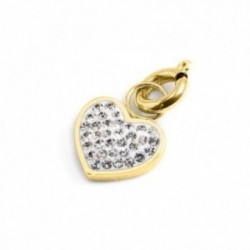 CHARM ORO PVD STRASS BIANCHI CUORE