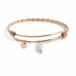 BRACCIALE BANGLE TORCHON PERLA PENDENTE PVD ROSE'